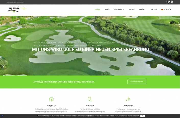 Bottega Design Referenz Illustration Webscreen von Golfhimmel