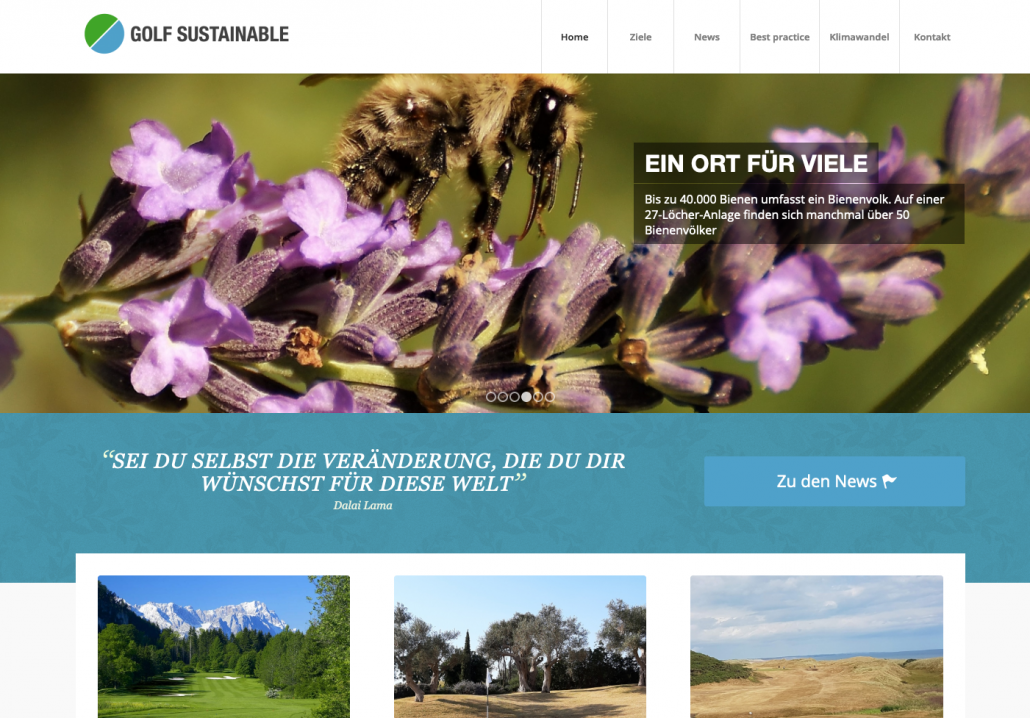 Bottega Design Referenz Illustration Webscreen von Golfsustainable