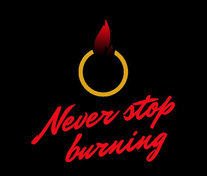 Bottega Design Referenz Illustration Logo für NeverStopBurning von Karsten Pfeifer
