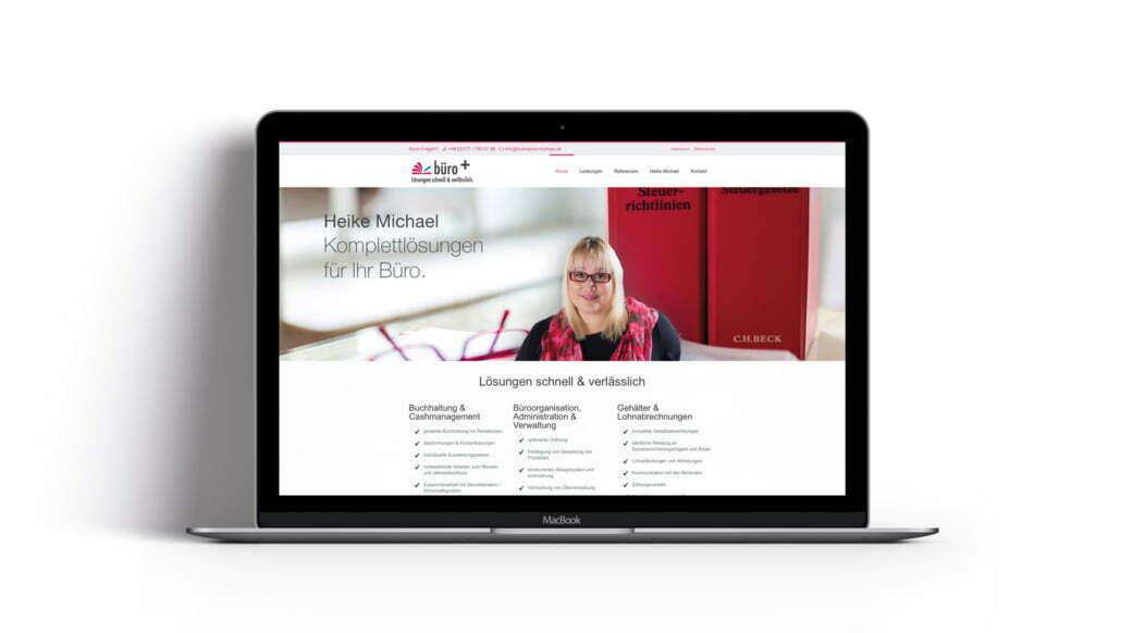 Bottega Design Referenz Illustration Webseite auf MacBook für Büro+ Heike Michael