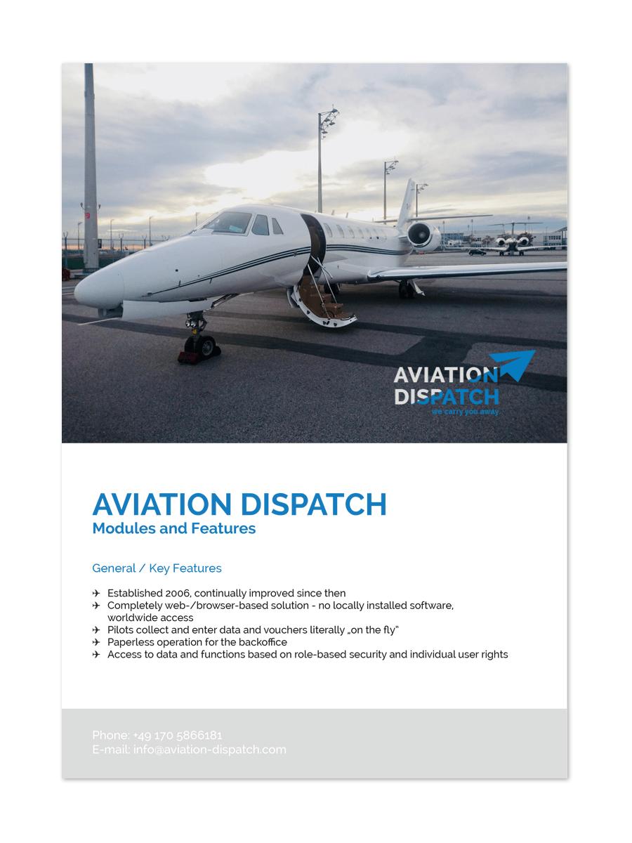 Bottega Design Referenz Illustration Product Sheet für Aviation Dispatch