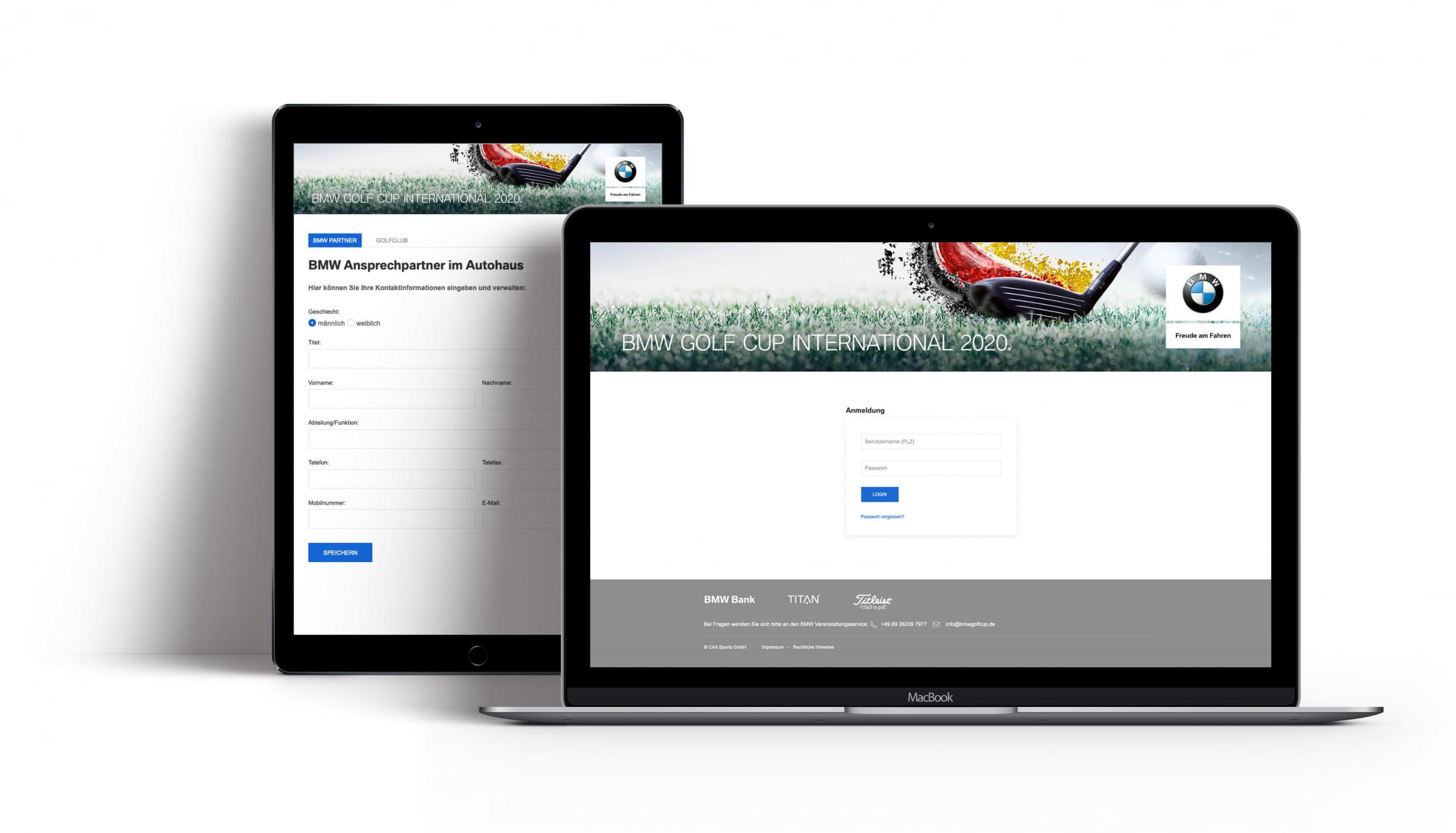 Bottega Design Referenz Illustration Webseite auf mobilen Endgeräten für BMW Golf Cup International Händlerportal
