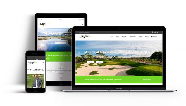Bottega Design Referenz Illustration Webseite auf mobilen Endgeräten für Golfhimmel