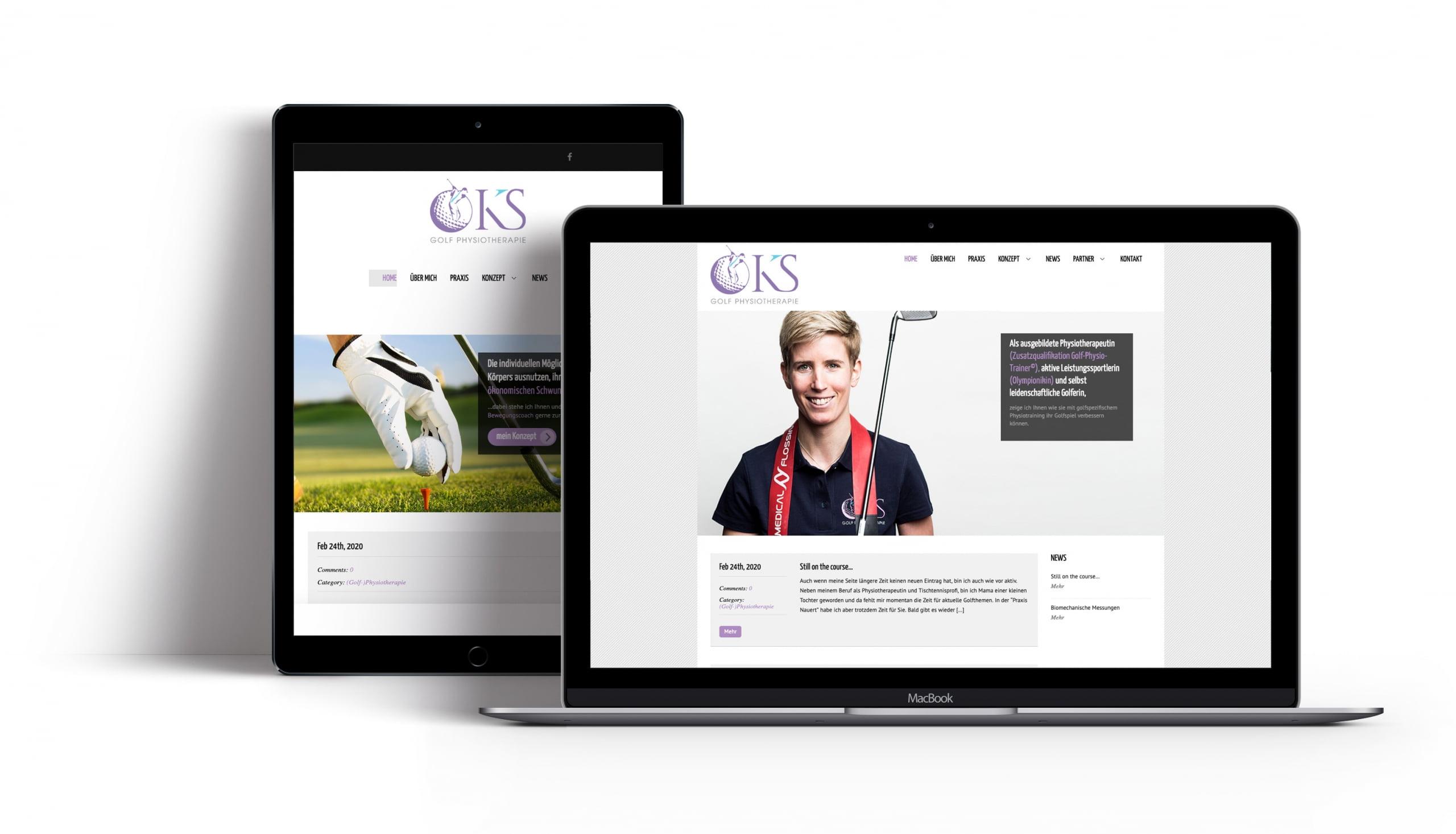 Bottega Design Referenz Illustration Webseite auf mobilen Endgeräten für Golfphysiotherapie Kristin Lang (Silbereisen)