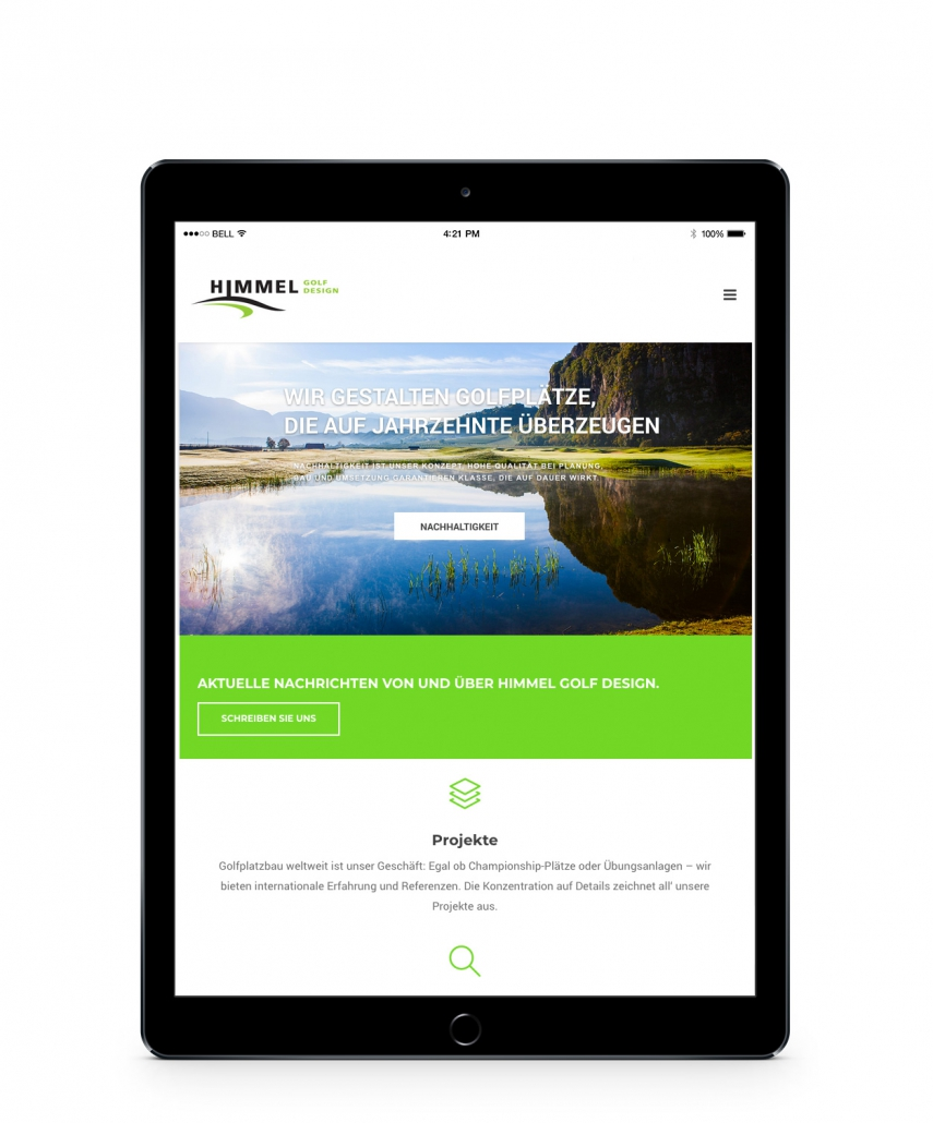 Bottega Design Referenz Illustration Webseite auf iPad für Golfhimmel