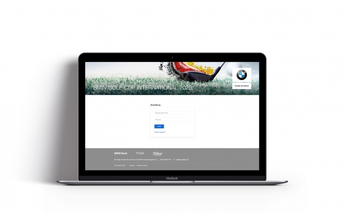 Bottega Design Referenz Illustration Webseite auf MacBook für BMW Golf Cup International Händlerportal