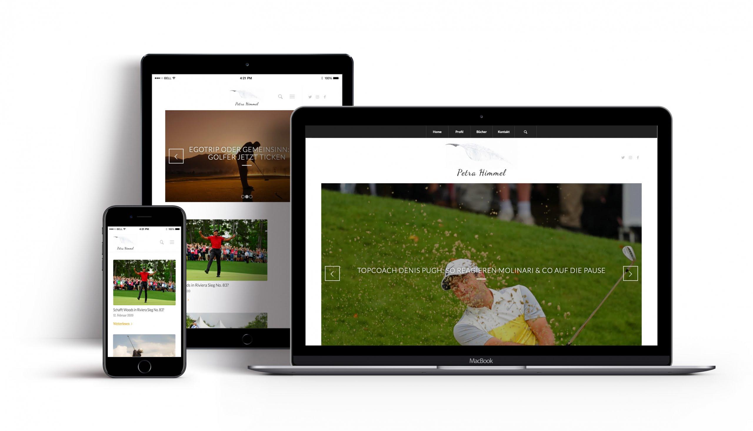 Bottega Design Referenz Illustration Webseite auf mobilen Endgeräten für Petra Himmel