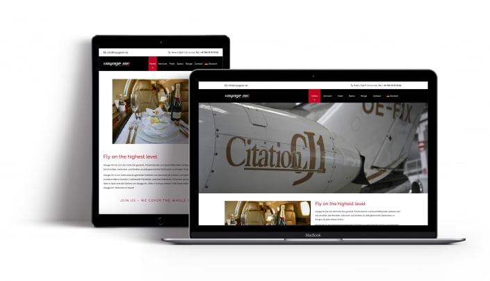 Bottega Design Referenz Illustration Webseite auf mobilen Endgeräten für Voyage Air