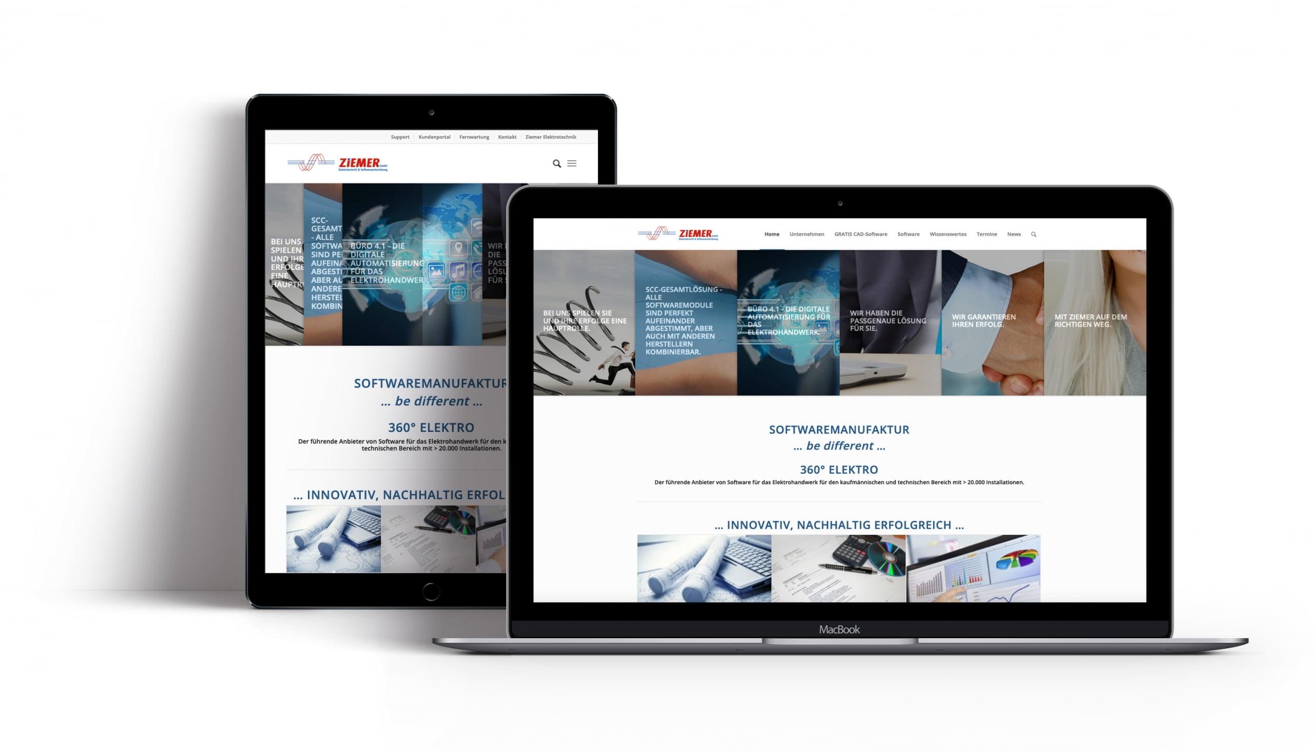 Bottega Design Referenz Illustration Webseite auf mobilen Endgeräten für Ziemer Software