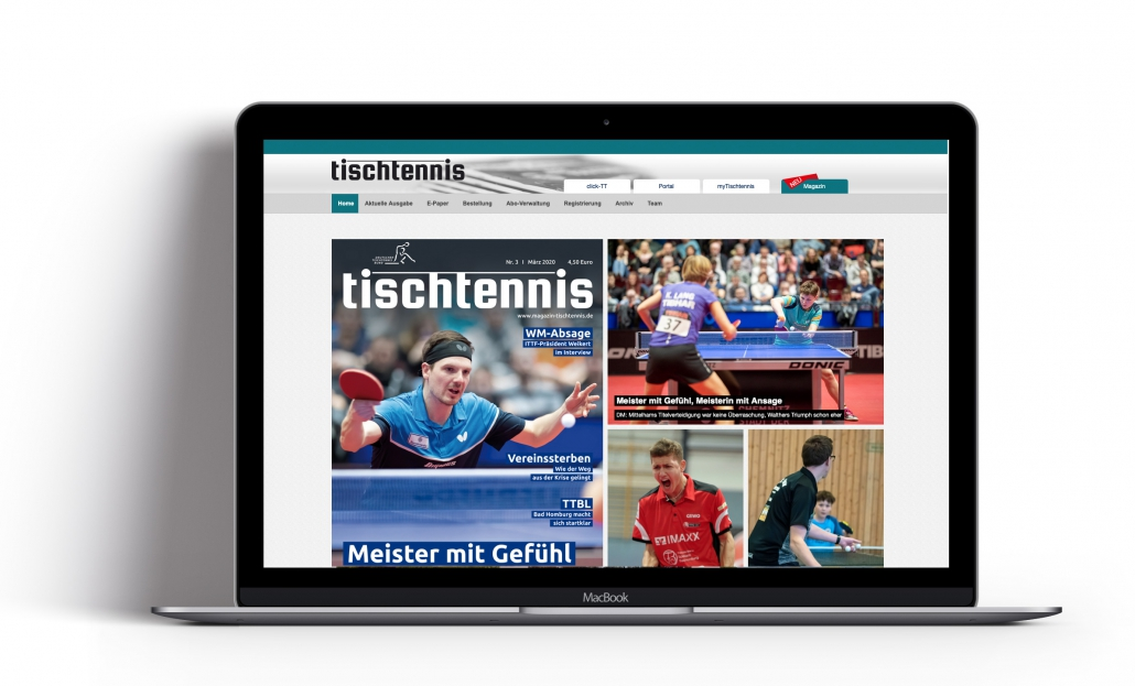 Bottega Design Referenz Illustration tischtennis Magazin online auf MacBook