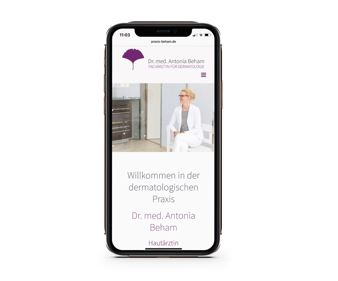 Bottega Design Referenz Illustration Webseite auf iPhone für Dermatologische Praxis Dr. Antonia Beham