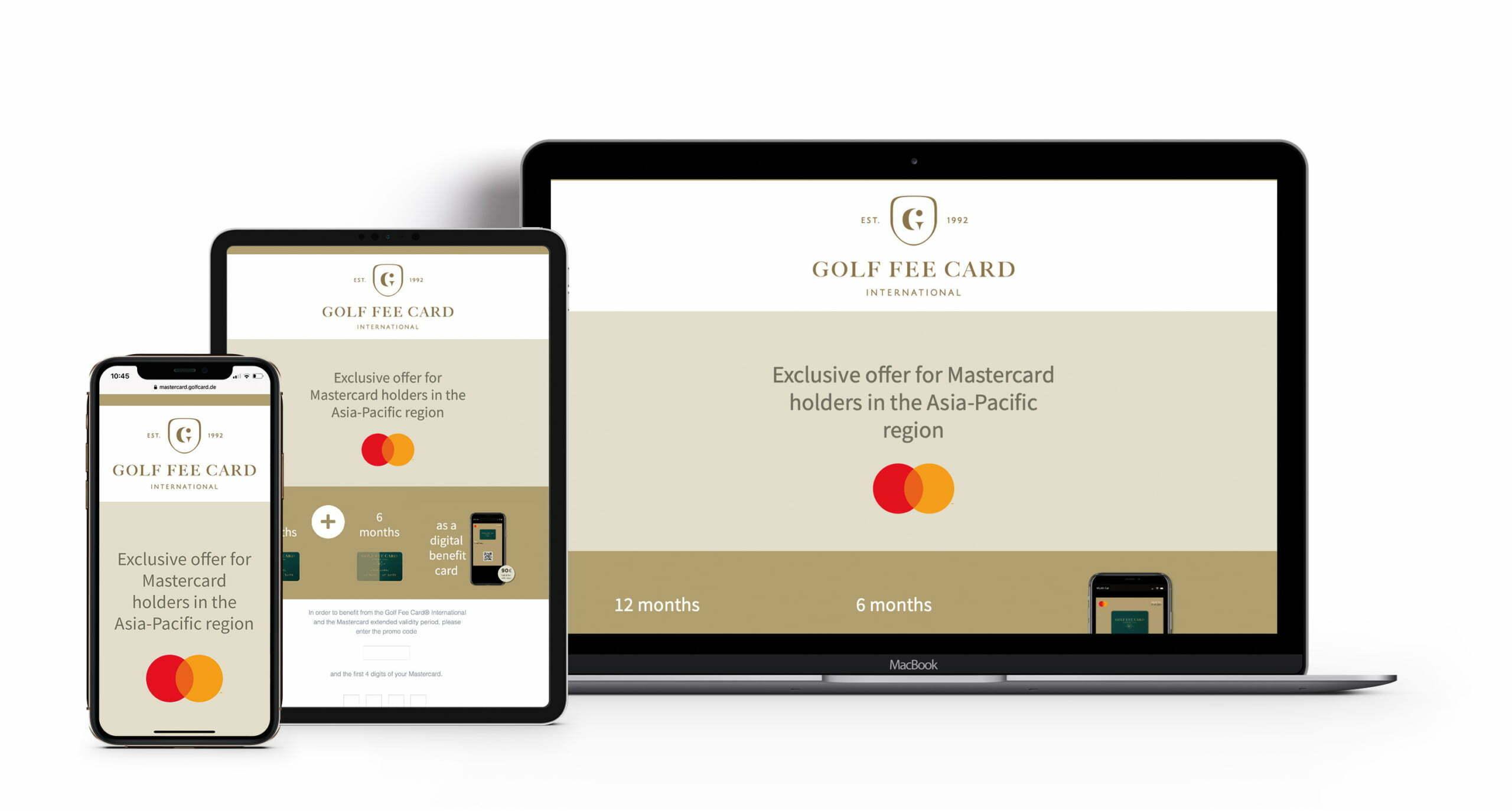 Bottega Design Referenz Illustration Webseite auf mobilen Endgeräten für Mastercard Golf Fee Card